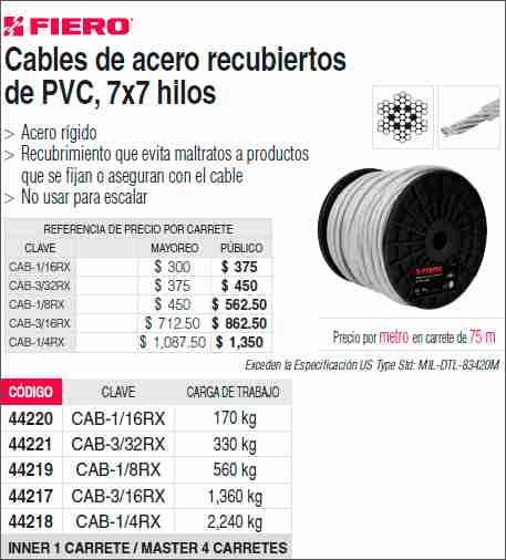Ferredos listar productos for Cable de acero precio
